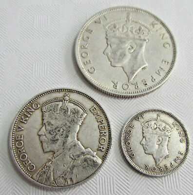 3 SOUTHERN RHODESIA Africa Silver Coins, British, 6 P,  2 Shillings., 1/2 crown