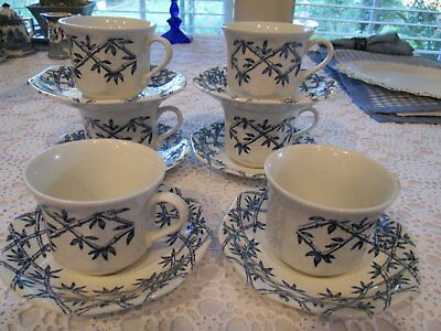 6 English Royal Staffordshire Meakin Trellis Ironstone Cups And Saucers