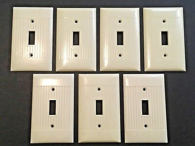 7 Vintage Sierra Ivory Bakelite Single Toggle Switch Plate Cover