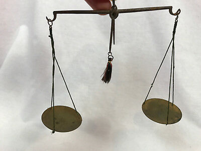 Antique 19th Century Tiny Set of Brass Scales