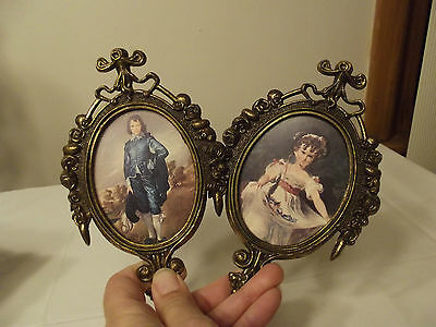 Vintage Picture's Of Pinky & Blue Boy Brass Frames Made In Italy Rare Gorgeous97