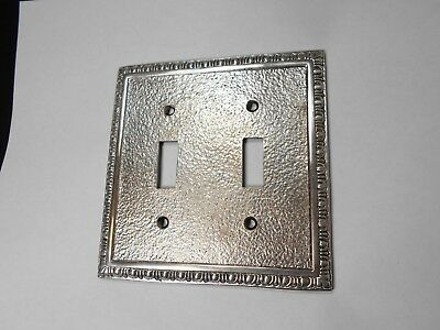 Thick Heavy Brass Double Toggle Switch plate   Plated Brass Rustic Style