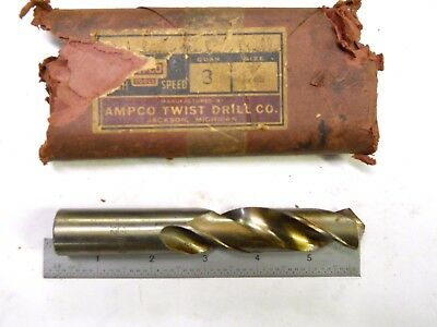 Vintage New Usa Made Ampco 27/32 (.718) Straight Shank Stub Drill