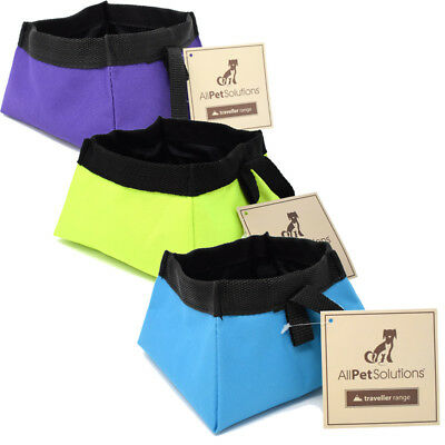 All Pet Solutions Dog Cat Food / Water Fold up - Foldable Travel Bowl Waterproof