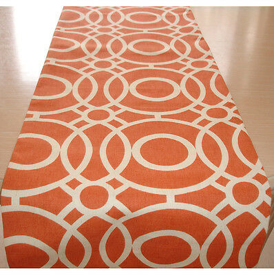 "NEW Table Runner 150cm 5ft Orange and Ivory Cream 60"" Retro Funky Tableware"