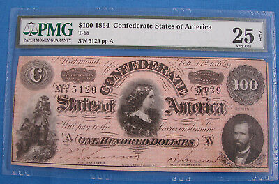 *very Nice 1864 Confederate States $100.00 Note - Graded 25 Pmg*