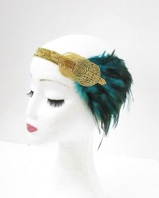 Gold Teal Blue Green Feather Headpiece 1920s Headband Flapper Great Gatsby 5055