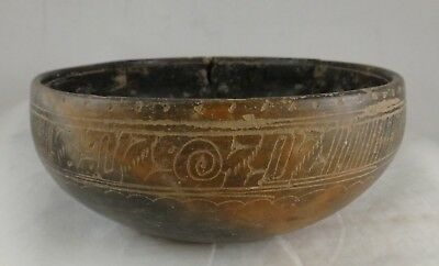"Pre-Columbian Pottery Bowl w/incised glyphs, Mayan? c.300 - 900 A.C.E. 7 3/8"" d."