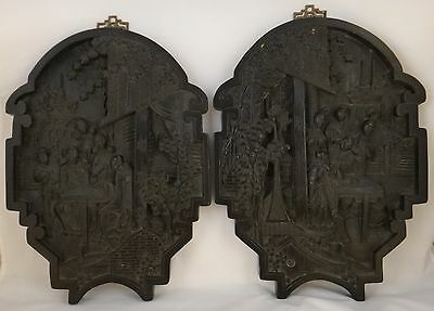 """Pair of Vintage Chinese Carved Wood Wall Plaques, Republic- 1920's/30's, 13x10"""""""