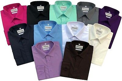 Mens Long Sleeve Tailored fit Coloured Shirts Formal Casual Work PM London