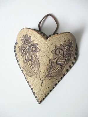 Vintage Pottery Wall Pocket Hand Made / Signed JW Heart Shape Lace Flower Motif