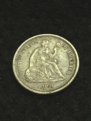 1861 Seated Half Dime - VF