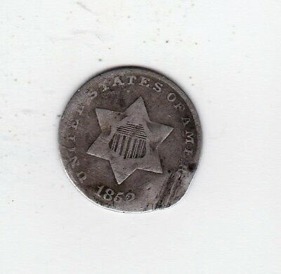 VERY SCARCE OBSOLETE COIN  1852 3 CENT SILVER-2nd YEAR ISSUE FREE SHIPPING