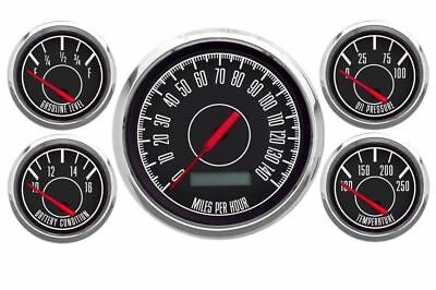 New Vintage Black 1967 5 Gauge Kit ~ Prog Speedo / 0-90 Fuel Gauge - 67519-01