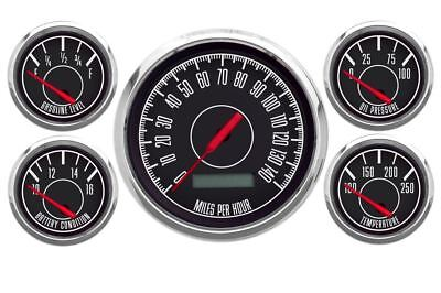 New Vintage Black 1967 5 Gauge Kit ~ Prog Speedo / 340-33 Fuel Gauge  - 67514-01