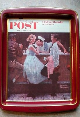 Norman Rockwell Girl in Mirror & After the Prom Metal Trays