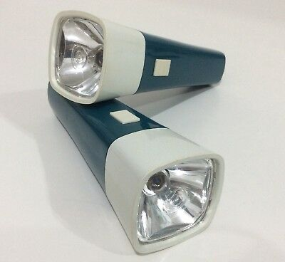 Ever Ready Torch X2 With Working Bulbs 1970s Pocket Lamp Lights Blue & White