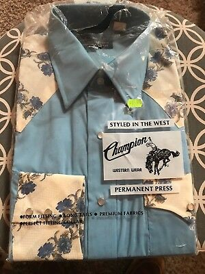 VTG Champion Western Shirt 16-34 Blue Floral Pearl Snap Rockabilly Deadstock