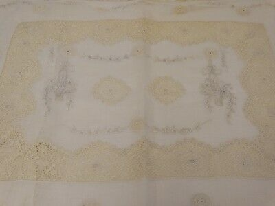 ANTIQUE IRISH CROCHET LACE BOUDOIR PILLOW Embroidered Floral Baskets 1900's