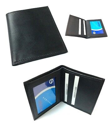 Mens Leather Ultra Slim Mini Credit Card Note Case Wallet Black Uk P&p 208