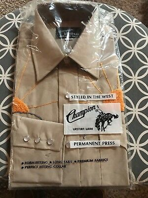 VTG Champion Western Shirt 15-33 Embroidered Sun Pearl Snap Rockabilly Deadstock