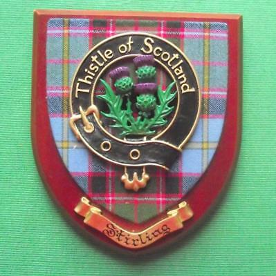 Vintage Scottish Hand Carved Oak Clan STIRLING Tartan Plaque Crest Shield