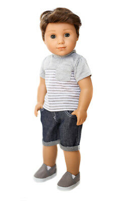 STRIPED SHIRT + DENIM SHORTS + SHOES for 18 inch American Boy Logan Doll Clothes