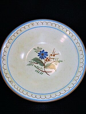 "Vintage STANGL POTTERY Hand Painted ""Blue Daisy"" 8 3/4"" Round Vegetable Bowl"