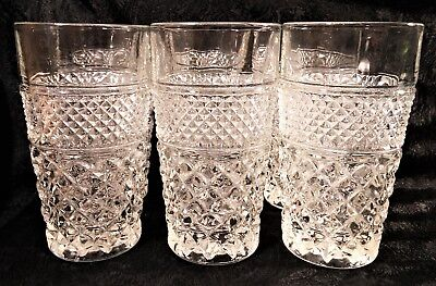 Set Of 6 Vintage Anchor Hocking Wexford Flat Iced Tea Glasses Exc Condition!