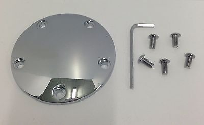 BRASS BUTTON 2 HOLE CHROME DOMED POINTS COVER SPORTSTER harley timing ignition