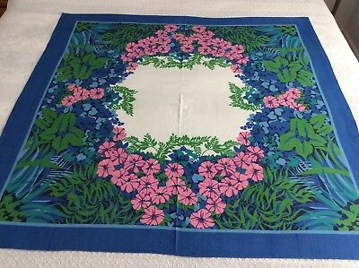 "Vintage Tablecloth By Bassetti - Gorgeous Huge Tropical Flowers - 42"" X 42"""