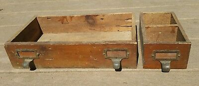 2 Vntg Handmade Wooden Catalog Index Card Apothecary drawer box bin brass handle