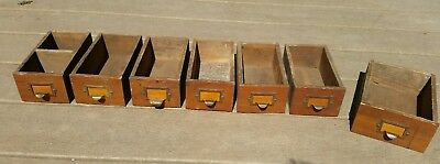 7 Vntg Handmade Wooden Catalog Index Card Apothecary drawer box bin brass handle