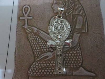 Egyptian cross of Ankh with cartouche made sterling silver 925- artisan product