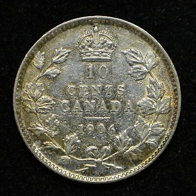 1906 Canada Ten Cents Silver Cleaned (bb425)