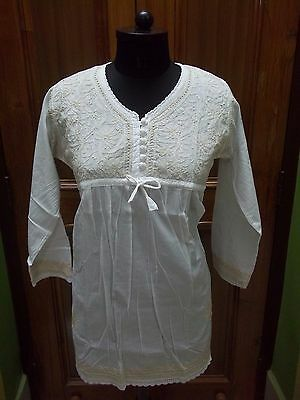 100% Cotton Crochet Button Xs L 2Xl Ethnic Handmade Chikan Embroidery Top Kurti