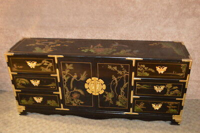 Vintage Large Painted Asian Style Dresser w/Brass Ascents