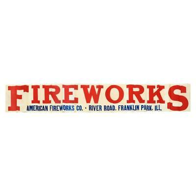 "Vintage LARGE Late 1930's AMERICAN FIREWORKS Display Banner Sign 9'-10"" x 1'-6"""