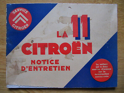 Citroen Traction Avant 11CV 1934 Original-Betriebsanleitung Notice d'Entretien F