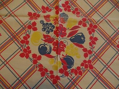 Vintage 1950's Printed Tablecloth 45 x 48, Red, Yellow, Blue Plaid Grid, Fruits