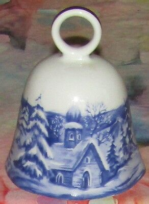 Scherzer W. Germany WINTER WONDERLAND Bavarian Porcelain Bell Fluted W/22K Gold