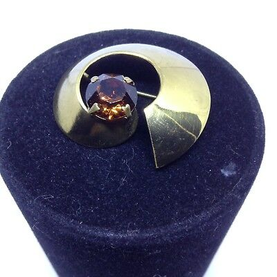 Vintage 1950s 60s Abstract Brooch  With Amber Coloured Stone Beautiful