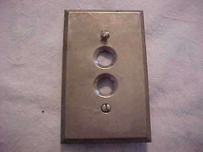 Nickel Over Brass Single Push Button Switch Gang Plate & Screws Circa 1920's