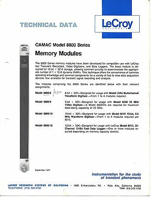 LeCROY - CAMAC MODEL 8800 = MEMORY MODULES =  TECHNICAL DATA