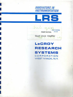 LeCROY - MODEL 335 / 335L = QUAD LINEAR AMPLIFIER - TECHNICAL INFORMATION MANUAL