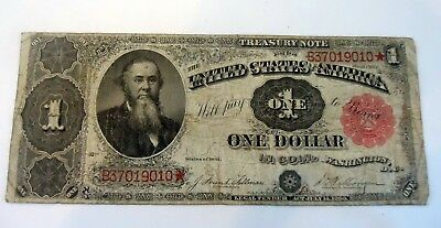 1891 One Dollar Bill $1 United States Stanton Treasury Large Star  Note