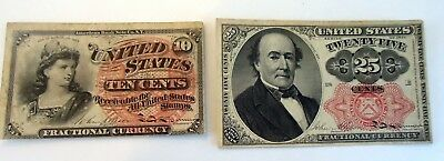 vintage US FRACTIONAL CURRENCY, 10/25 CENTS  1874,1863