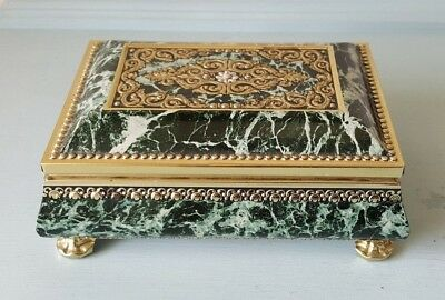 Vintage Harry Vincent Blue Bird Marble Footed Chest Confectionery Tin - UK