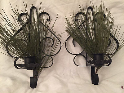 Pair of 2 Vintage WROUGHT IRON WALL SCONCES~Black SCROLLED METAL CANDLE HOLDERS