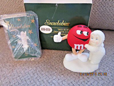"""2004 Dept 56 M&M's candy Snow babies """"Red is my favorite color"""" NIB F923771"""
